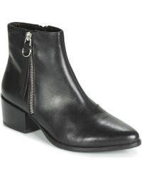 b0d1963cf3d Vagabond Marja Black Leather Croc Effect Ankle Boots - Lyst