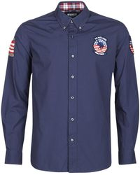 U.S. POLO ASSN. Usa Patch Shirt Bd Long Sleeved Shirt - Blue