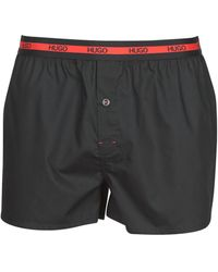 HUGO Woven Boxer Twin Pack Boxers - Black