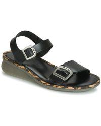 Fly London Comb Womens Low Wedge Heel Sandals - Black