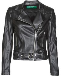 Benetton 2alb53673 Leather Jacket - Black