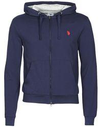 U.S. POLO ASSN. Tricolor Hoodie Fleece Sweatshirt - Blue
