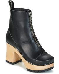 Swedish Hasbeens Grunge Boot Black Low Ankle Boots
