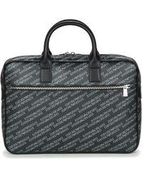 Emporio Armani - Lettering One Zip Briefcase Men s Briefcase In Black - Lyst 53c1154466202