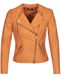 ONLY Onlava Leather Jacket - Orange