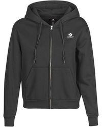 Converse Womens Foundation Full Zip Hoodie Sweatshirt - Black