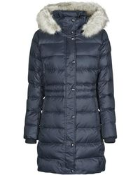 Tommy Hilfiger Th Ess Tyra Down Coat With Fur Jacket - Blue
