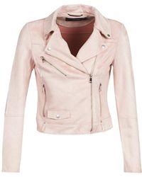 Vero Moda Vmkerri Women's Leather Jacket In Pink