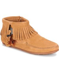 Minnetonka Concho/feather Side Zip Boot - Brown