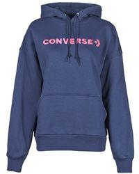 Converse Embroidered Wordmark Hoodie Sweatshirt - Blue