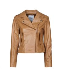 Betty London Nrock Leather Jacket - Brown