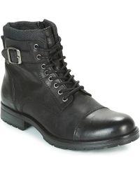 Jack & Jones Albany Leather Men's Mid Boots In Black