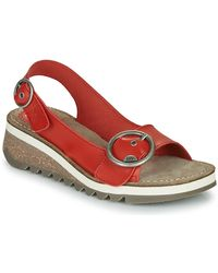 Fly London Tram Leather Wedge Sandal - Red