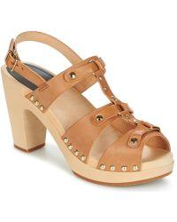 Swedish Hasbeens Brassy Sandals - Brown