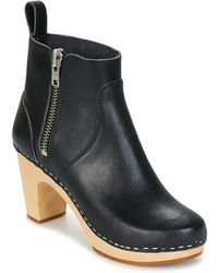 Swedish Hasbeens Zip It Super High Low Ankle Boots - Black