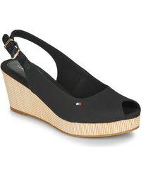 Tommy Hilfiger Iconic Elba Sling Back Wedge Sandals - Black