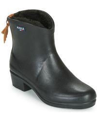Aigle Miss Juliette Fur Wellington Boots - Black