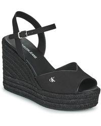 Calvin Klein Wedge Sandal Ankle Strap Co Sandals - Black