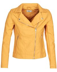 ONLY Onlmelanie Biker Leather Jacket - Yellow