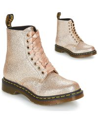 Dr. Martens 1460 Pascal Glitter Women's Mid Boots In Gold - Metallic