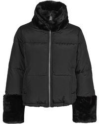 MICHAEL Michael Kors Fur Mix Puffer Jacket - Black