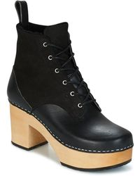 Swedish Hasbeens Hippie Lace Up Low Ankle Boots - Black