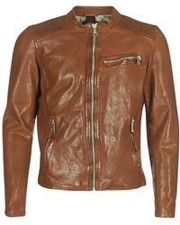 Redskins Cross Leather Jacket - Brown