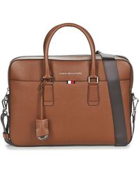 Tommy Hilfiger Business Leather Slim Comp Bag Briefcase - Brown