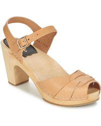 Swedish Hasbeens Peep Toe Women's Sandals In Beige - Natural