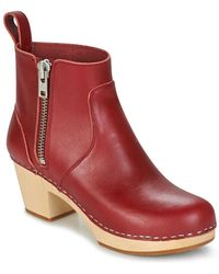 Swedish Hasbeens Zip It Emy Low Ankle Boots - Red