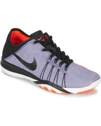 0b0b6aa2a6e64 Nike Free Focus Flyknit Women s Cross Trainers in Black - Lyst