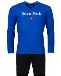 Eden Park Pyjama long en coton bleu : tee-shirt col V manches longues floqué et pantalon bleu marine