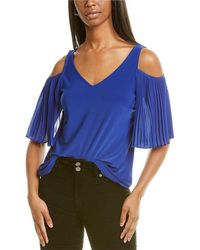 Vince Camuto Mixed Media Top - Blue