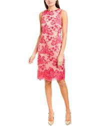 Vince Camuto Sleeveless Floral Lace Sheath Dress - Pink