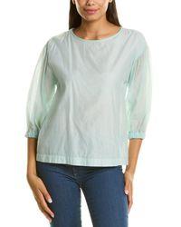Peserico 3/4-sleeve Silk-blend Blouse - Blue