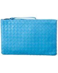 Bottega Veneta Large Intrecciato Leather Pouch - Blue