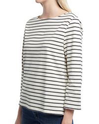 French Connection Tim Tim Stripe 3/4-sleeve Knit Top - White