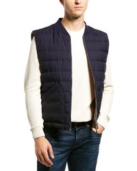 Brunello Cucinelli Wool & Feather Reversible Puffer Vest - Blue