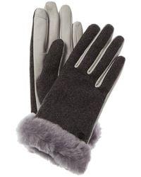 UGG Shorty Leather-trim Wool-blend Tech Gloves - Grey
