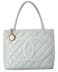 Chanel Light Blue Quilted Caviar Leather Medallion Tote - Multicolour