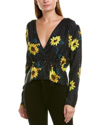 The Kooples Dark Sunflower Silk-blend Top - Multicolour