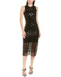 Betsey Johnson Shiny Dot Midi Dress - Black