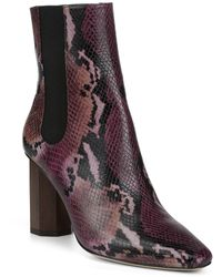 Donald J Pliner Laila Snake Printed Leather Booties - Purple