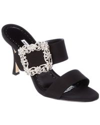 Manolo Blahnik Gable Jewel 90 Satin Sandal - Black