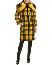 Michael Kors Button-front Plaid Wool Coat W/ Faux-fur Collar - Yellow