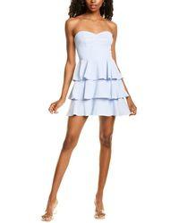 Amanda Uprichard Tiered Ruffle Mini Dress - Blue