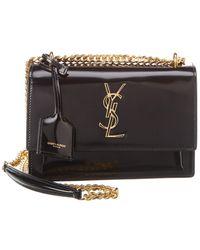Saint Laurent Sunset Patent Leather Shoulder Bag - Black