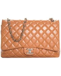 Chanel Tan Quilted Caviar Leather Classic Maxi Double Flap Bag - Multicolour