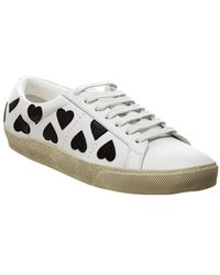 Saint Laurent - Leather Court Classic Heart Embroidered Trainers - Lyst