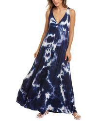 Melissa Masse V-neck Maxi Dress - Blue